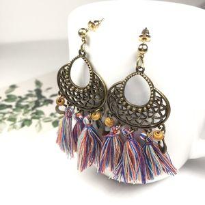 Vintage Boho Multicolored Tassel Earrings